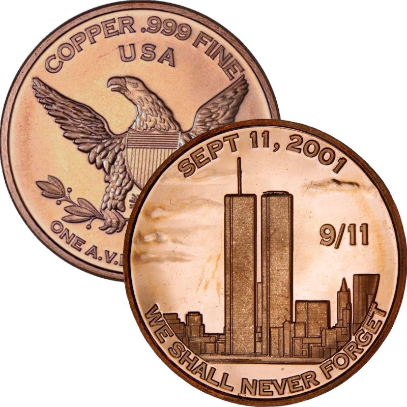 We Shall Never Forget 9/11 - Twin Towers 1 oz .999 Pure Copper Round