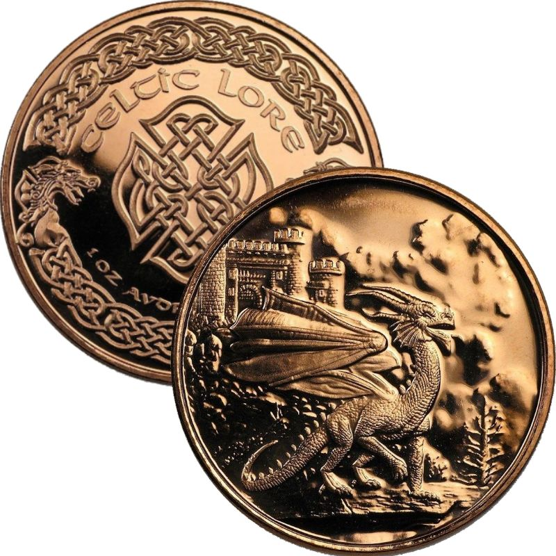 Welsh Red Dragon 1 oz .999 Pure Copper Round (3rd Design of the Celtic Lore Series)