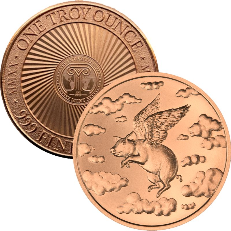 When Pigs Fly 1 oz .999 Pure Copper Round