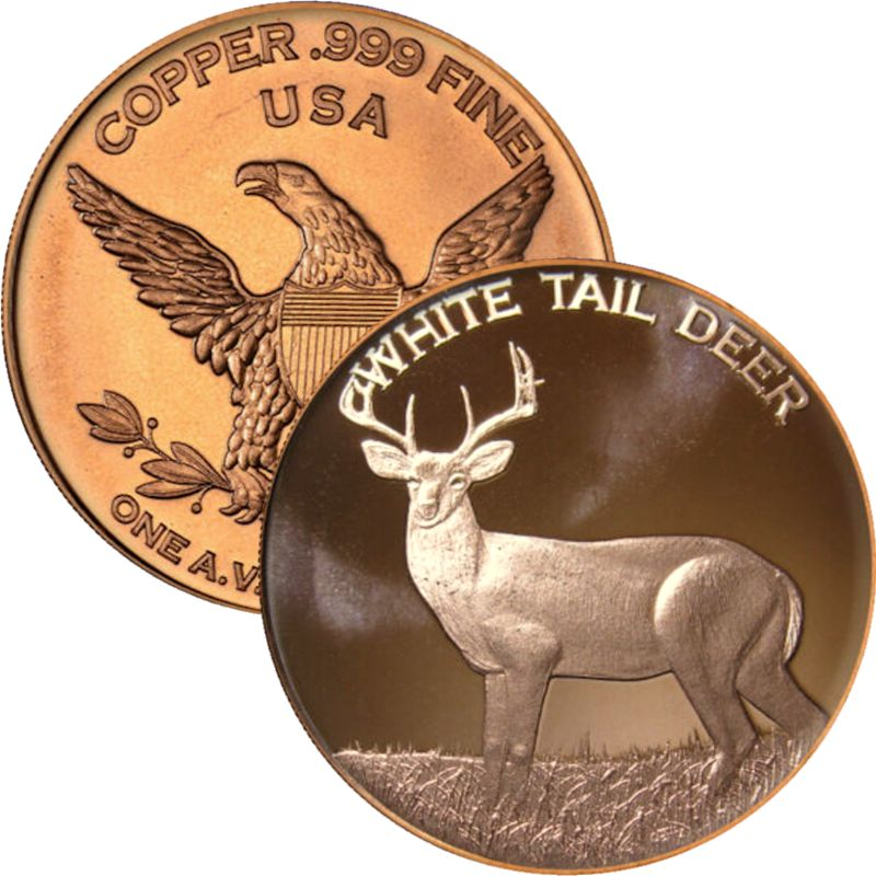 White Tail Deer (Private Mint) 1 oz .999 Pure Copper Round