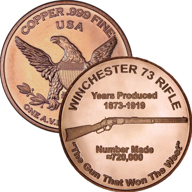 Winchester '73 Rifle 1 oz .999 Pure Copper Round