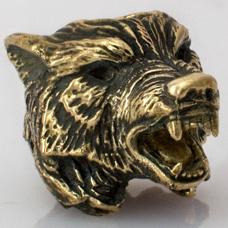 Wolf Bead in Brass by Russki Designs