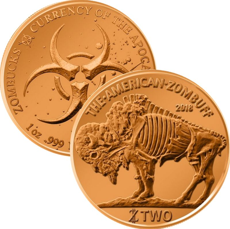 Zombuff 1 oz .999 Pure Copper Round (3rd Design of the Zombucks Series)