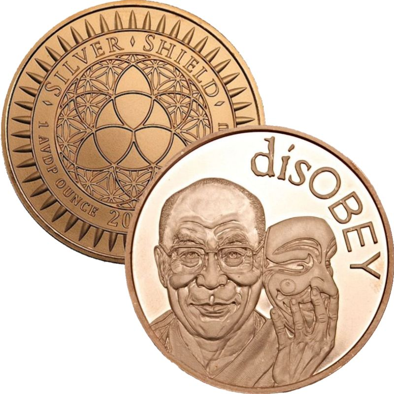 disOBEY Dalai Lama #36 (2017 Silver Shield Mini Mintage) 1 oz .999 Pure Copper Round