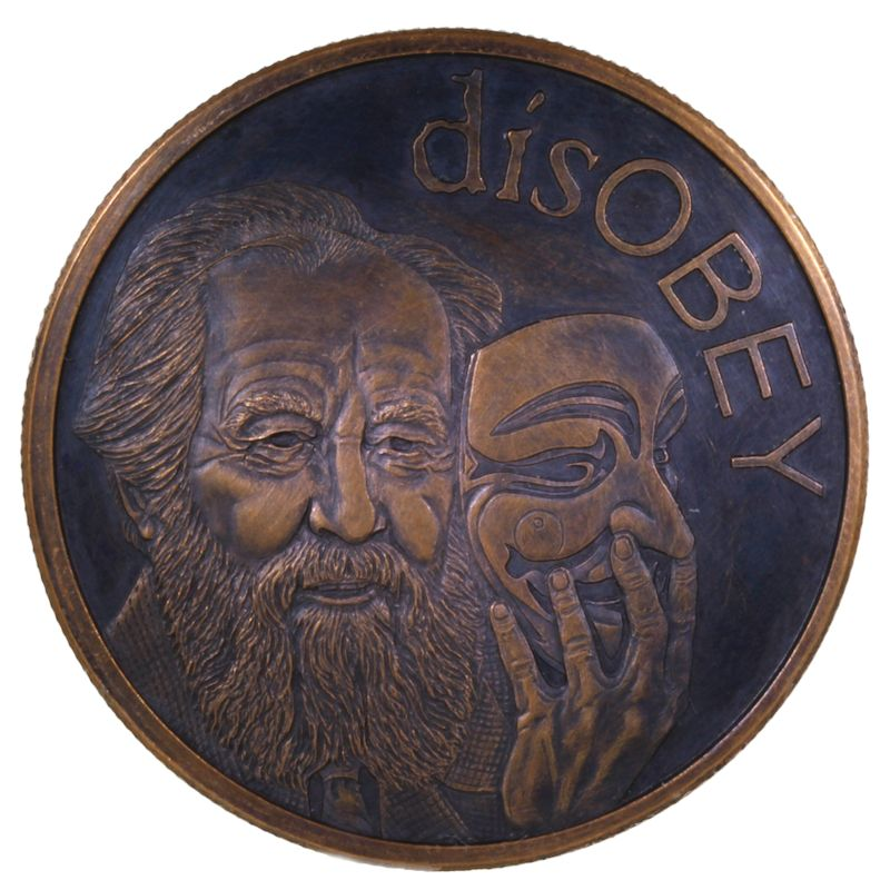 disOBEY Solzhenitsyn #29 (2017 Silver Shield Mini Mintage) 1 oz .999 Pure Copper Round (Black Patina)