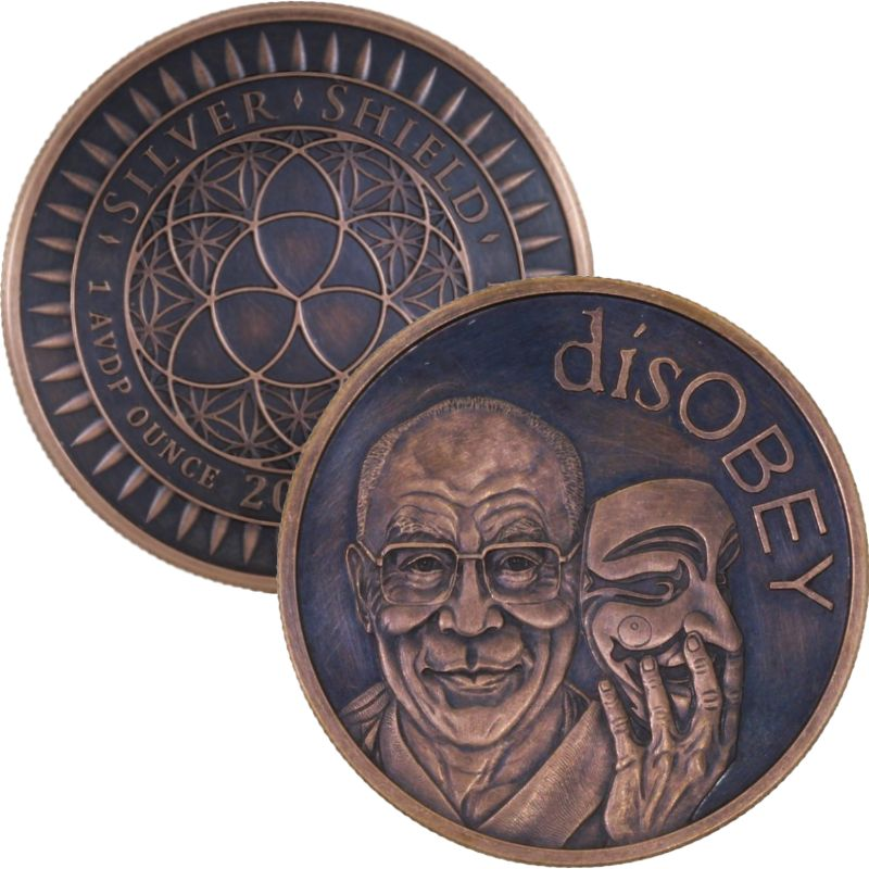 disOBEY Dalai Lama #36 (2017 Silver Shield Mini Mintage) 1 oz .999 Pure Copper Round (Black Patina)