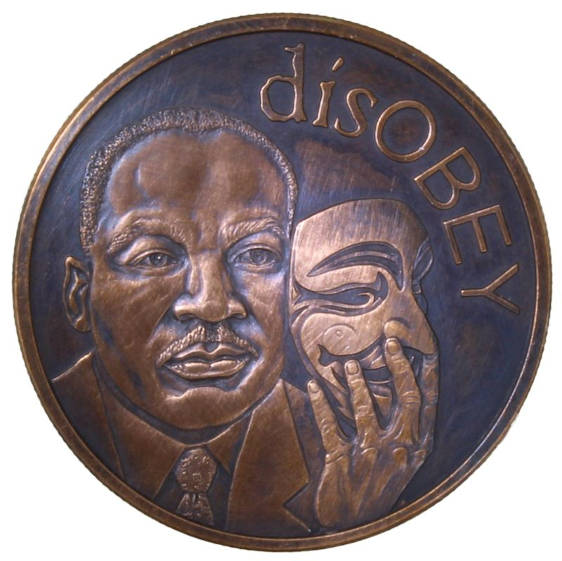 disOBEY Martin Luther King Jr. #31 (2017 Silver Shield Mini Mintage) 1 oz .999 Pure Copper Round (Black Patina)
