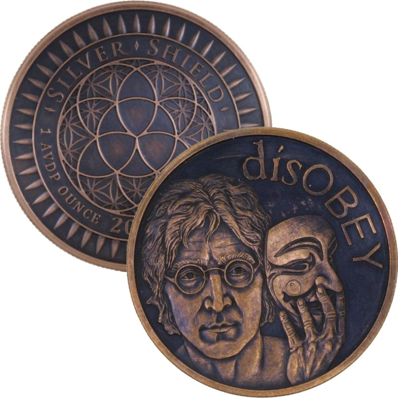 disOBEY Lennon #34 (2017 Silver Shield Mini Mintage) 1 oz .999 Pure Copper Round (Black Patina)