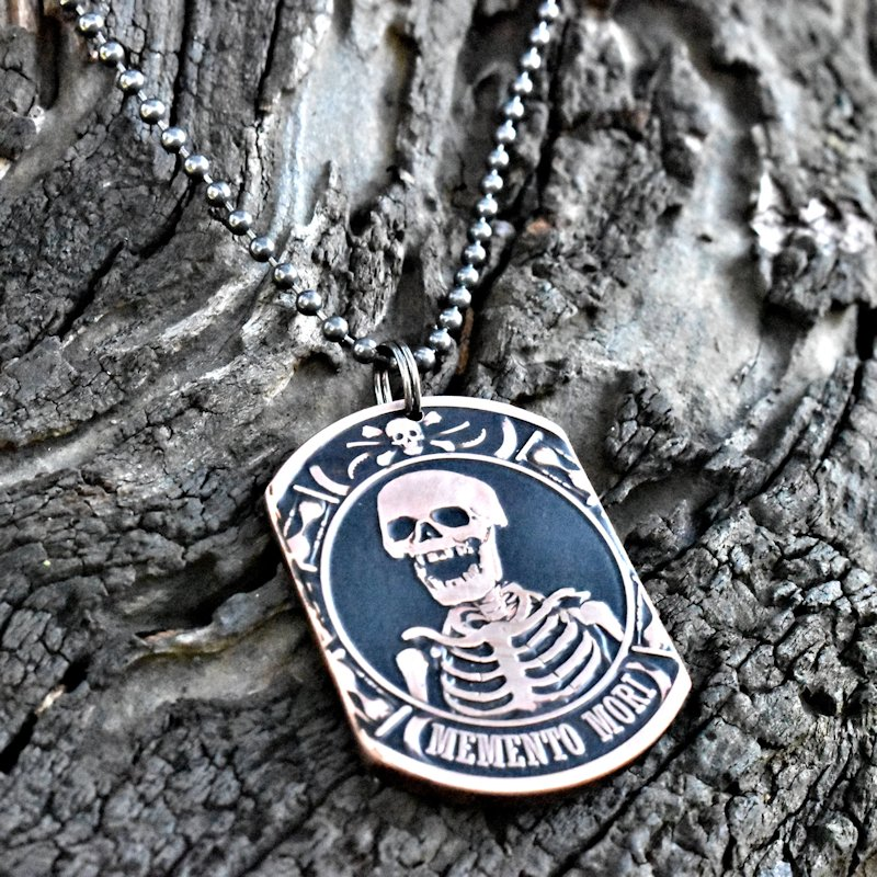 Memento Mori - Copper Coin Dog Tag Necklace